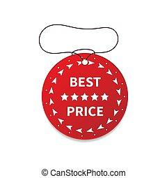 Round sale price label on white