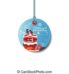 Round Sale Tag Holiday Discounts Merry Christmas Sticker With Santa Isolated On White Background