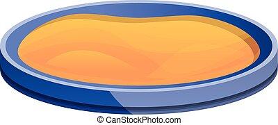 Round sandbox icon, cartoon style