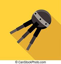Round satellite icon, flat style
