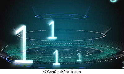 Round scanner and numbers moving against black background - ...