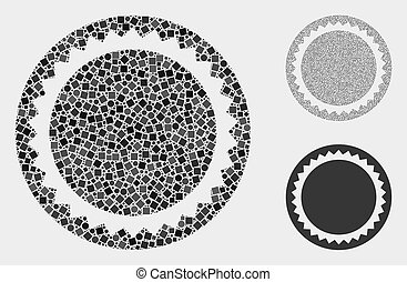 Round Seal Template Icon Mosaics of Squares and Circles