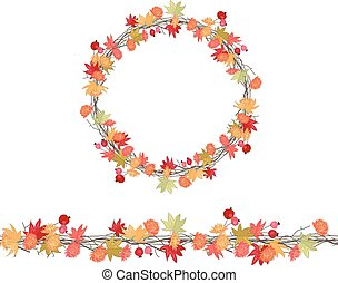 Round season wreath with maple leaves and twigs isolated on...
