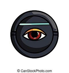 Round security device that scan human eye iris