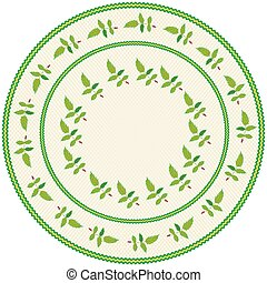 Round serviette with abstract embroidery with leafs in green,yellow colors on weave beige backdrop with  fringe