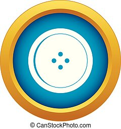 Round sewing button icon blue vector isolated