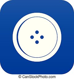 Round sewing button icon digital blue