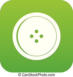 Round sewing button icon digital green