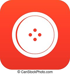 Round sewing button icon digital red