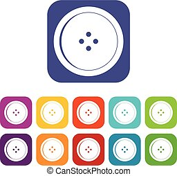 Round sewing button icons set flat