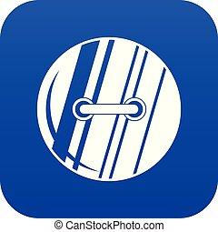Round sewn button icon digital blue