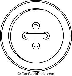 Round sewn button icon, outline style