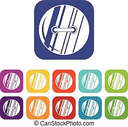 Round sewn button icons set flat