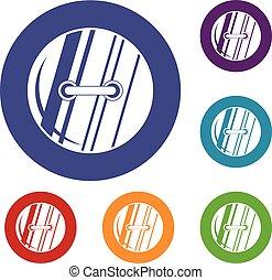 Round sewn button icons set