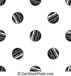 Round sewn button pattern seamless black