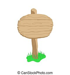Round shape cartoon wooden sign isolated on white
