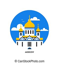 Round shape icon Christian Church. Orthodox church, the temple of Christ the Savior in Moscow, Russia. Flat Cartoon style chapel with cross, chapel, domes. National landmark.