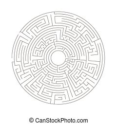Round shaped complicated maze, black silhouette on white