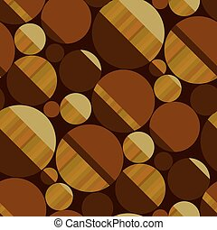 Round shapes seamless pattern in wood brown colors
