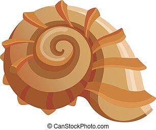 Round shell icon, cartoon style
