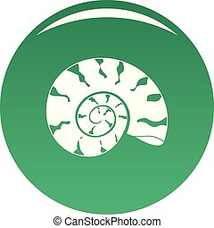 Round shell icon vector green