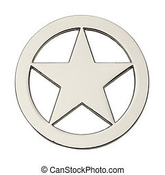 Round Sheriff Star - Round Silver Star Badge Isolated on...