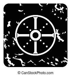 Round shield icon, grunge style