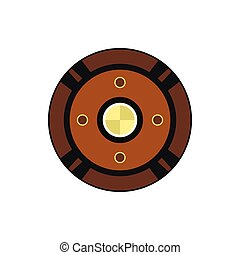Round shield icon in flat style