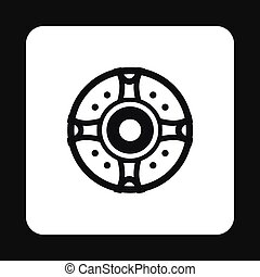 Round shield icon, simple style
