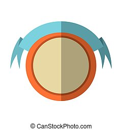 round shield orange frame and ribbon shadow