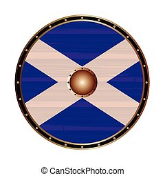 Round Shield With the flag of Scotland