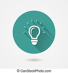 Round shining light bulb vector icon