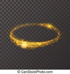 Round shiny frame background. Gold circle light effect with bursts on transparent background. Vector illustration