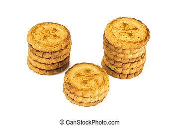 Round Shortbread Biscuits on a White