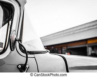 side mirror of a vintage car