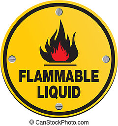 round sign - flammable liquid - suitable for warning signs