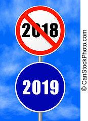 Round sign New Year 2019