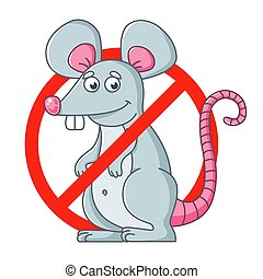round sign of getting rid of rodents. destroy mice. flat vector character illustration.