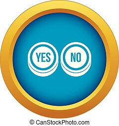 Round signs yes and no icon blue vector isolated
