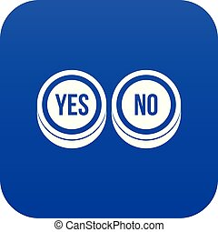 Round signs yes and no icon digital blue