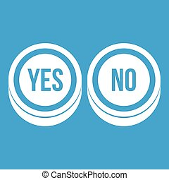 Round signs yes and no icon white