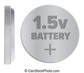 Round Silver 1.5v Battery Isolated Illustration