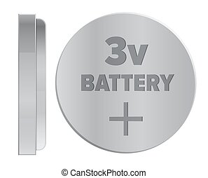 Round Silver 3v Battery Isolated Illustration