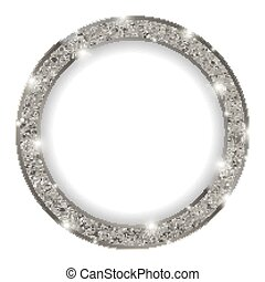 round silver frame with lights on light background - round...