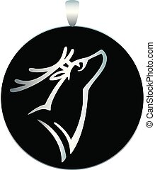 Round silver medallion - pendant with black enamel and a deer image - stock illustration. Jewelry with the image of a deer head.