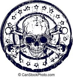 round skull stamp