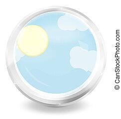 round sky icon button design