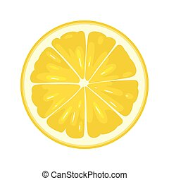 Round slice of lemon on white background. Flat color illustration