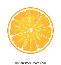 Round slice of orange on white background. Flat color illustration