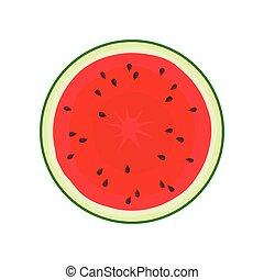Round slice of watermelon. Vector illustration on white background.